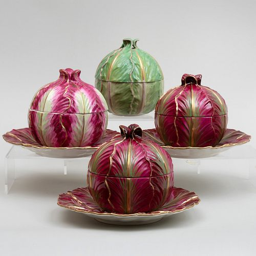 Meissen Marcolini Cabbage Form Tureen and Cover and a Three Similar Mottahedeh Tureens with Underplates