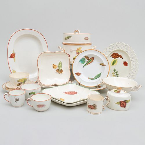 Assembled Wedgwood Creamware Service in the 'Shadow Leaf' Pattern and Similar Patterns