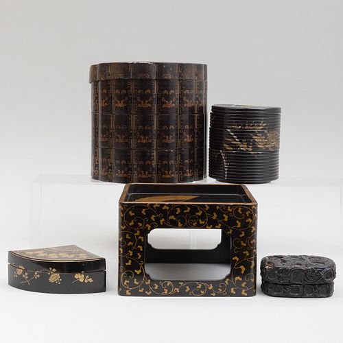 Group of Asian Lacquer Objects