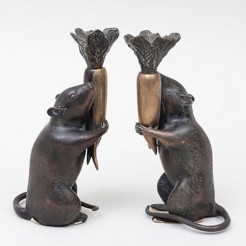 Pair of Japanese Meiji Bronze Rat Form Candlesticks