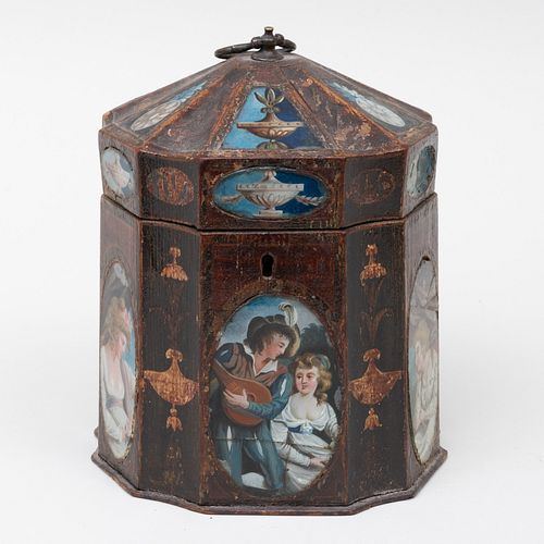 George III Painted Tea Caddy with Inlaid Reverse Glass Painted Panels