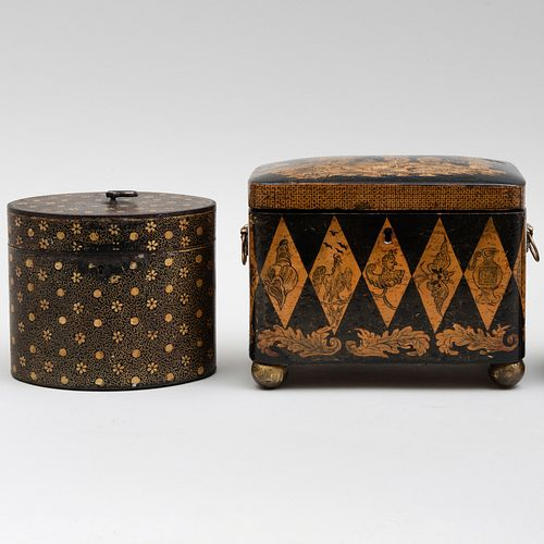 Regency Penwork Tea Caddy and a Painted Tole Ovoid Tea Caddy