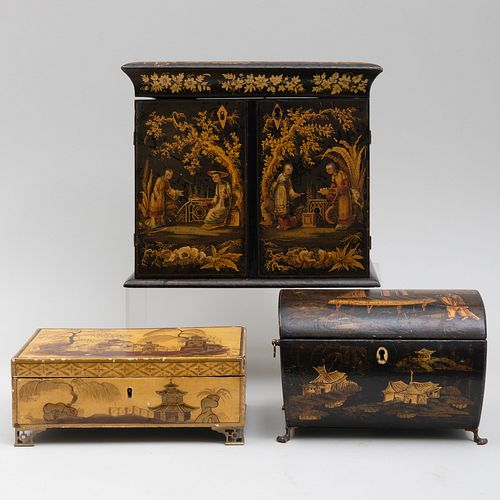Japanned Wood Jewelry Chest, a Sewing Box and a Table Casket