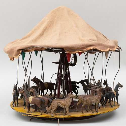 Canvas and Painted Tin Model of a Carousel