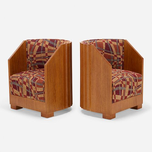Art Deco, lounge chairs, pair
