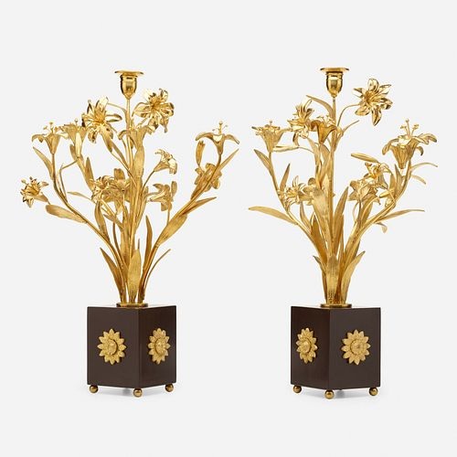 Style of Maison Jansen, bouquet candlesticks, pair