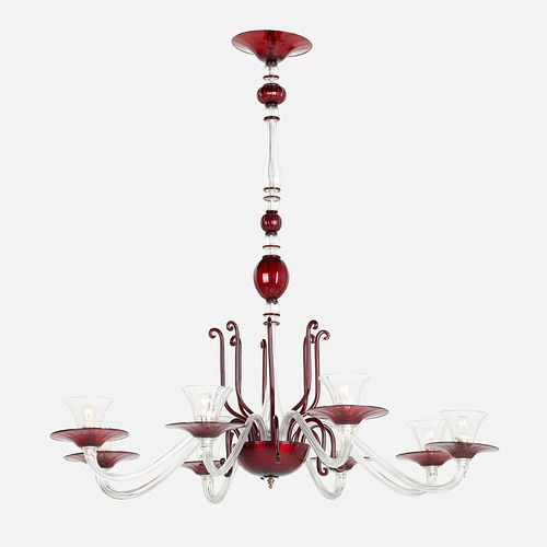 Venini, attribution, monumental chandelier