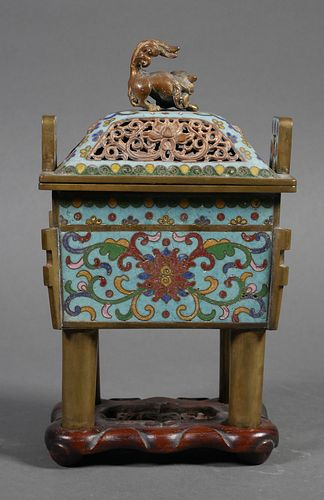 Chinese Cloisonne Fangding Censer