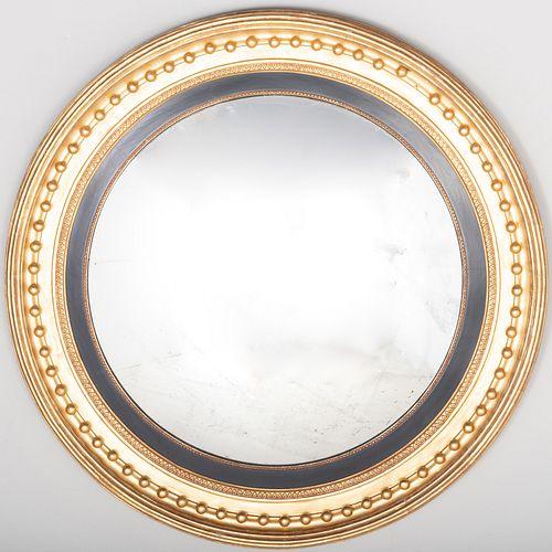 Regency Giltwood and Ebonized Circular Mirror