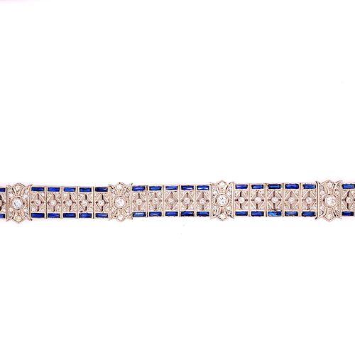 Art Deco Platinum Diamonds Sapphire Bracelet