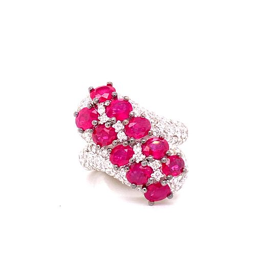 Salavetti Rubies Diamonds 18k Gold Ring
