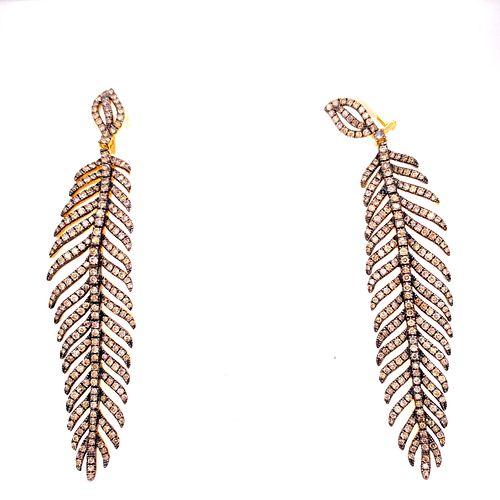 18k Gold Champagne Diamonds Feathers Earrings