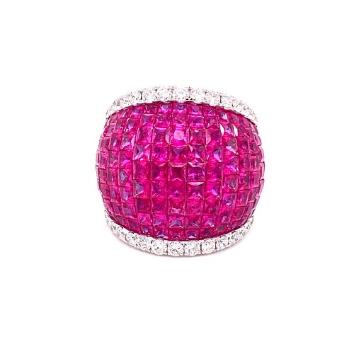 18k Gold Diamonds Rubies Ring