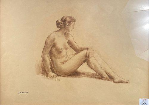 Emile Rene Ménard, A Seated Female Nude