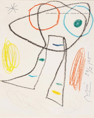 Joan Miro (Spanish, 1893-1983) Untitled (on the title page of Son Abrines-Calamayor- Palma de Mallorca), 1965