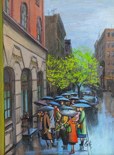 Arthur Kimmel Getz (American, 1913-1996) Rainy School Day, an illustration for The New Yorker magazine