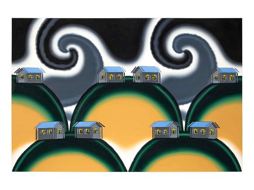 Roger Brown (American, 1941-1997) Dancing Houses-The Earthquake of 1994, 1994