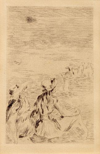 Pierre-Auguste Renoir (French, 1841-1919) Sur la plage, a Berneval, ca. 1892