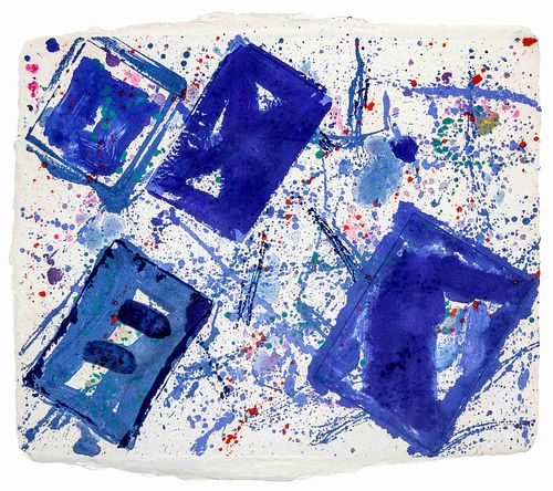 Sam Francis (American, 1923-1994) Untitled (Blue Squares)