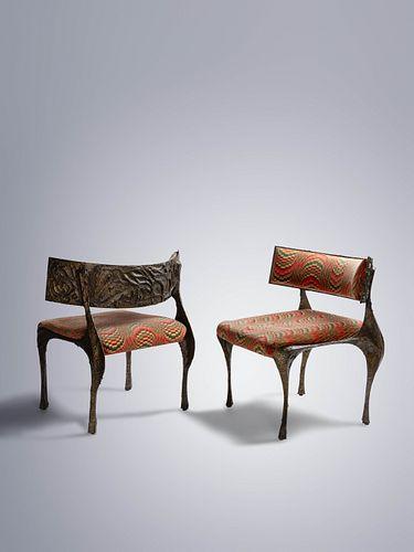 Paul Evans (American, 1931-1987) Pair of Sculptured Metal Lounge Chairs,Model PE-117,Paul Evans Studio for Directional, USA