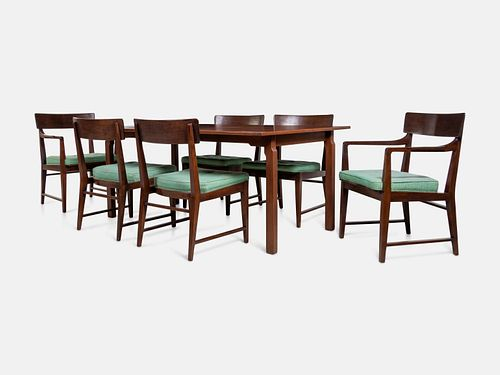 Edward Wormley (American, 1907-1995) Dining Suite with Table and Six Chairs, Dunbar, USA