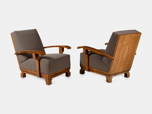 Art Deco, First Half of the 20th Century, Pair of High-Back Lounge Chairs