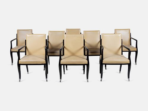 After Emile-Jacques Ruhlmann, Late 20th Century, Set of Eight Dining Chairs, Produced by Interior Crafts, USA