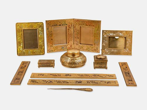 Tiffany Studios, American, Early 20th Century, Eleven-Piece Grapevine Desk Set