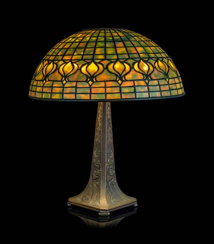 Tiffany Studios, American, Early 20th Century, Pomegranate Table Lamp raised on aChinese base