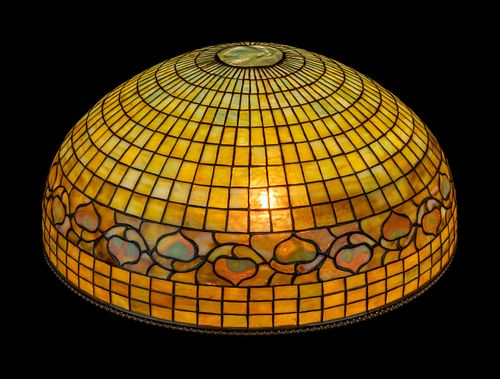 Tiffany Studios, American, Early 20th Century, Vine Border Hanging Shade with 'turtleback tile' below