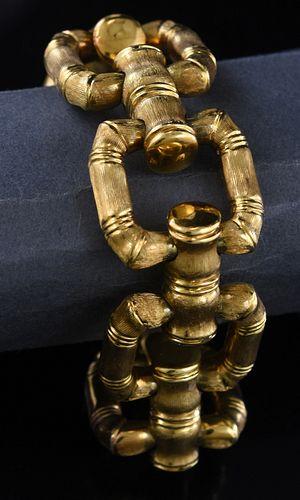 18K brushed linked heavy gold bracelet