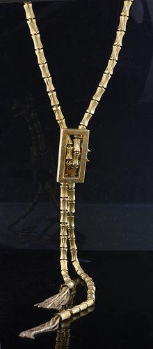 18K gold bamboo motif lariat