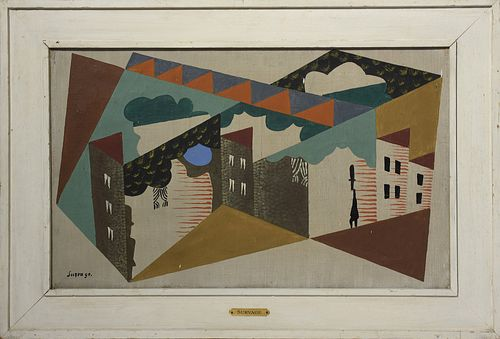 "Leopold Survage,  oil on canvas, ""Paysage"""