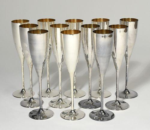 Set of twelve Buccellati sterling silver champagnes