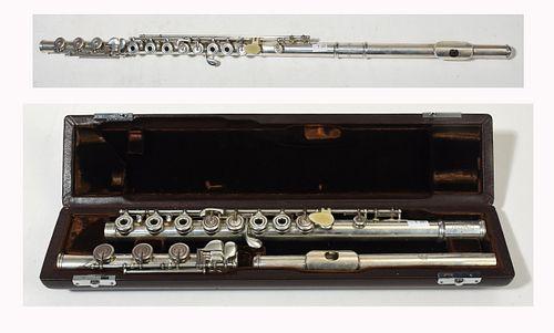 Silver flute marked Brannen-Cooper Brogger Mekanik