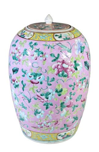 Large 19th C. Chinese Rose Ginger Jar