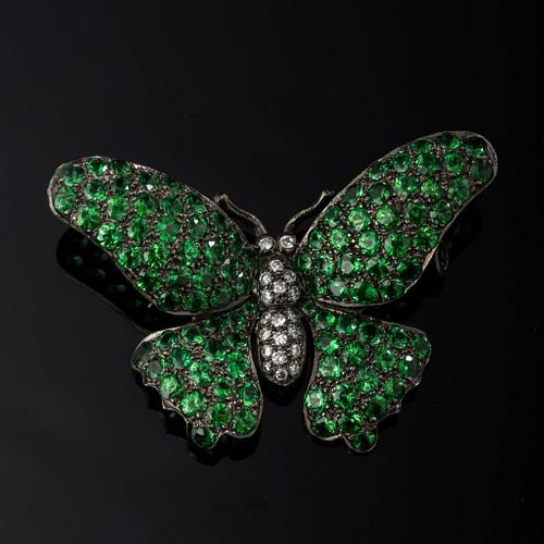 Garnet & Diamond Butterfly Brooch.