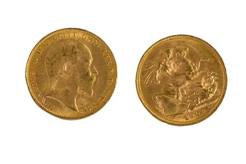 Two British Sovereign Gold Coins.