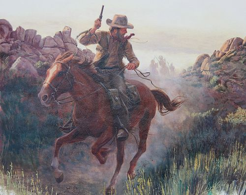 "Morton Kunstler (B. 1931) ""Pony Express"""
