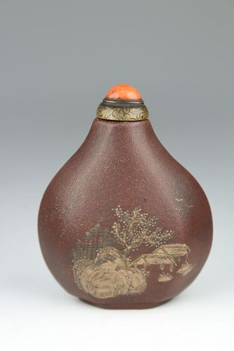 Important Rare Yi-hsing Snuff Bottle. Ch'ien-Lung