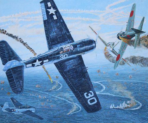 "Brian Sanders (B. 1937) ""Battle - Philippine Sea"""