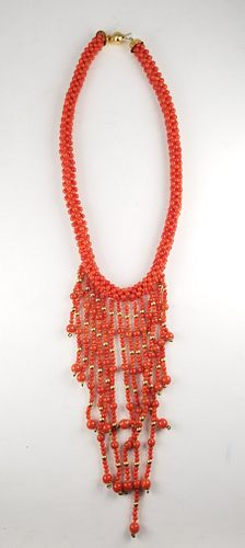 18K Gold Red Coral Bead Necklace