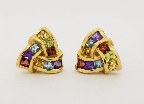 14K Gold Multi-Stone Earrings