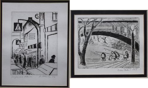 (2) 1970s Pencil Signed Etchings