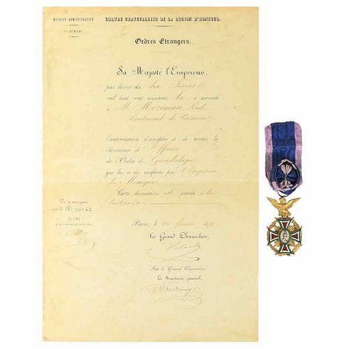 Condecoración de la Orden de Guadalupe Otorgada al Teniente Paul Moziman... Medalla / Diploma. Pieces: 2.