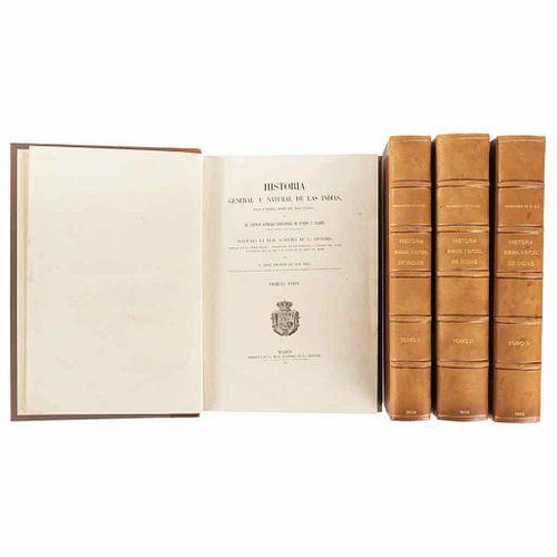 Fernández de Oviedo y Valdés, Gonzalo. Historia General y Natural de las Indias... Madrid, 1851. Pieces: 4.