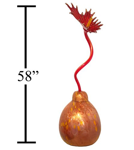 LARGE Dale Chihuly Red Ikebana with Single Flower
