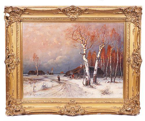 Julius Yulevich Von Klever 'Winter Night'