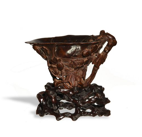Chinese Chenxiang Wood Libation Cup, 18th Century