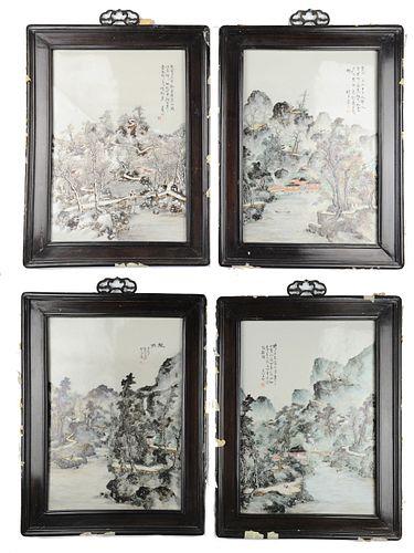 4 Chinese Porcelain Landscape Plaques by Duan Zian